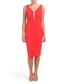 Zip Front Midi Crepe Dress