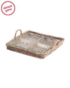 4 Section Rattan Tray