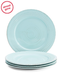 Set Of 4 Textured Dinner Plates