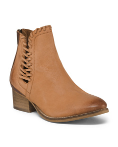 Side Stitch Leather Booties