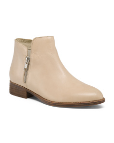 Made In Italy Leather Side Zip Booties