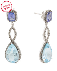 Made In India Silver Blue Topaz Tanzanite Diamond Earrings
