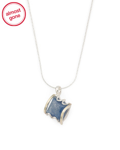 Made In Israel Sterling Silver And 14k Gold Kyanite Necklace
