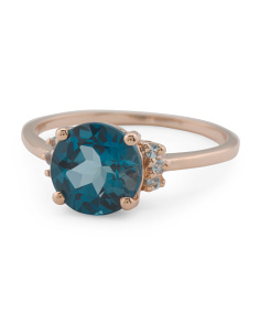 Made In India 14k Rose Gold London Blue Topaz Ring