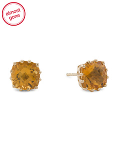 Made In India 14k Gold Citrine Stud Earrings