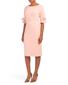 Boat Neck Tie Sleeve Midi Dress