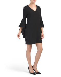 Made In USA Bell Sleeve V Neck Crepe Dress