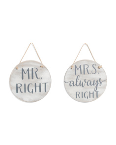 Set Of 2 Round Mr. & Mrs. Chair Signs