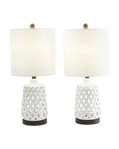 Set Of 2 Ceramic Open Work Table Lamps