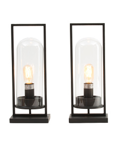 Set Of 2 Steel & Glass 17in Uplight