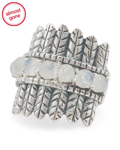 Handcrafted In India Sterling Silver Moonstone Ring