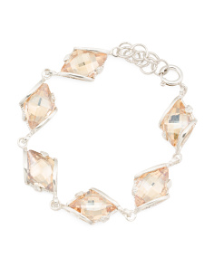 Made In Israel Sterling Silver Swarovski Crystal Bracelet
