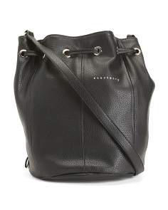 Pebbled Leather Bucket Crossbody