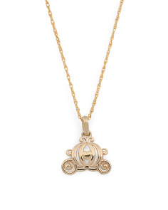 14k Gold Cinderella Carriage Necklace