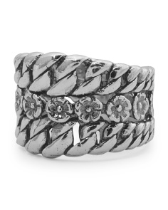 Made In Israel Oxidized Sterling Silver Textured Ring