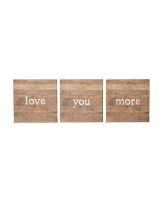 12x12 Set Of 3 Love You More Wall Art