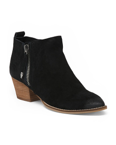 Suede Stacked Heel Ankle Booties