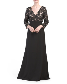 Long Sleeve Gown With Lace Top