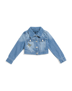 Big Girls Butterfly Embroidered Denim Jacket