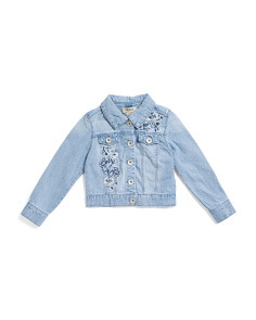 Big Girls Floral Embroidered Denim Jacket