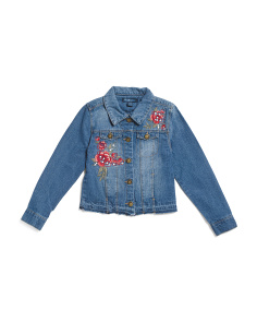 Big Girls Rose Patch Pearl Detail Denim Jacket