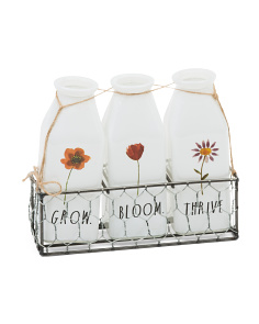 Set Of 3 Decorative Milk Bottles