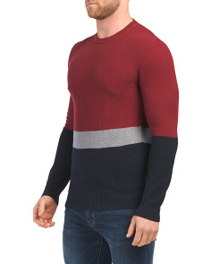 Textured Color Block Crew Neck Top