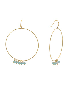Made In India 18k Gold Plated Sterling Silver Gemstone Circle Earrings