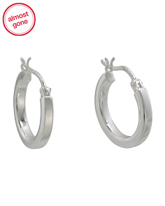 Made In Thailand Sterling Silver 15mm Hoop Earrings