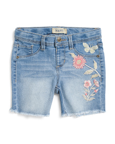 Little Girls Butterfly & Floral Embroidered Shorts