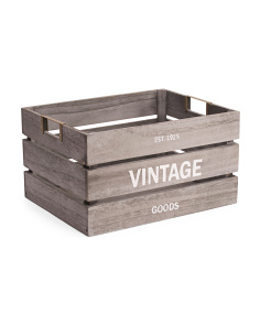 Large Washed Wood Storage Bin