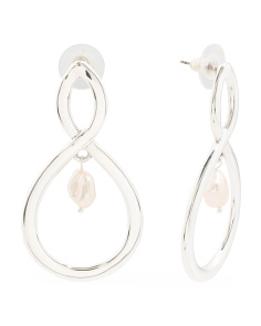 Made In Israel Sterling Silver Figure Eight Pearl Earrings