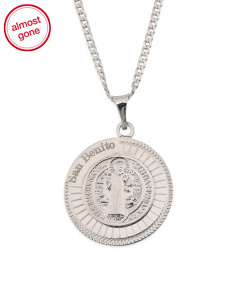 Men's Made In Italy Sterling Silver Saint Benito Necklace
