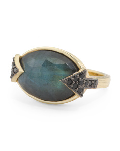 Made In India Sterling Silver Labradorite Black Spinel Ring