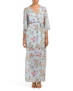 Juniors Kimono Sleeve Faux Wrap Maxi Dress