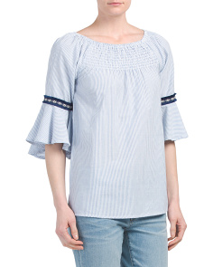 Banded Arm Ruffle Trim Top