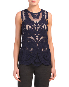 Vintage Embroidery Top With Scallop Hem