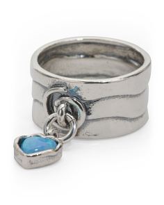Made In Israel Sterling Silver And Opal Heart Charm Ring