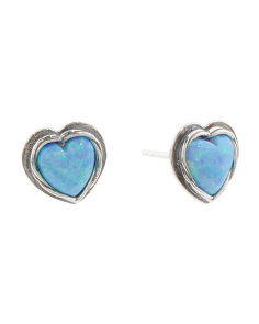 Made In Israel Sterling Silver And Opal Heart Stud Earrings