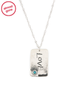 Made In Israel Sterling Silver And Opal Love Necklace