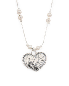 Made In Israel Sterling Silver And Pearl Heart Necklace