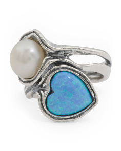Made In Israel Sterling Silver Pearl And Opal Ring