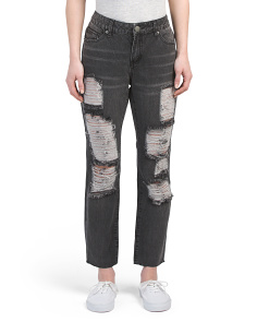 Juniors High Rise Rigid Destructed Jeans