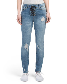 Juniors Lace Up Front Skinny Jeans