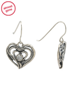 Made In Israel Sterling Silver And CZ Heart Earrings