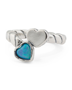 Made In Israel Sterling Silver And Opal Bypass Heart Ring