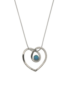 Made In Israel Sterling Silver And Opal Open Heart Necklace