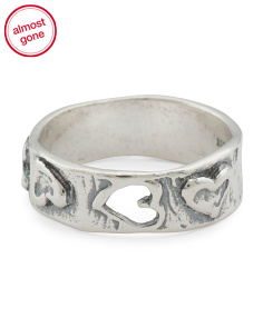 Made In Israel Sterling Silver Heart Band Ring