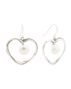 Made In Israel Sterling Silver And Pearl Open Heart Earrings