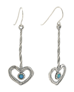 Made In Israel Sterling Silver Opal Linear Heart Earrings